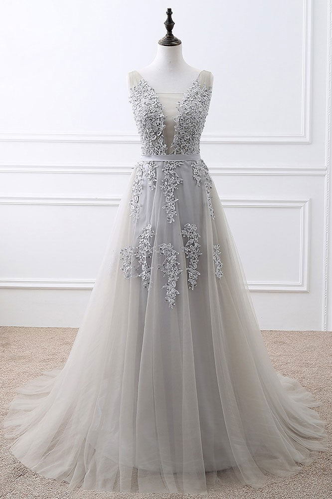 Gray v neck lace tulle long prom dress, gray tulle bridesmaid dress