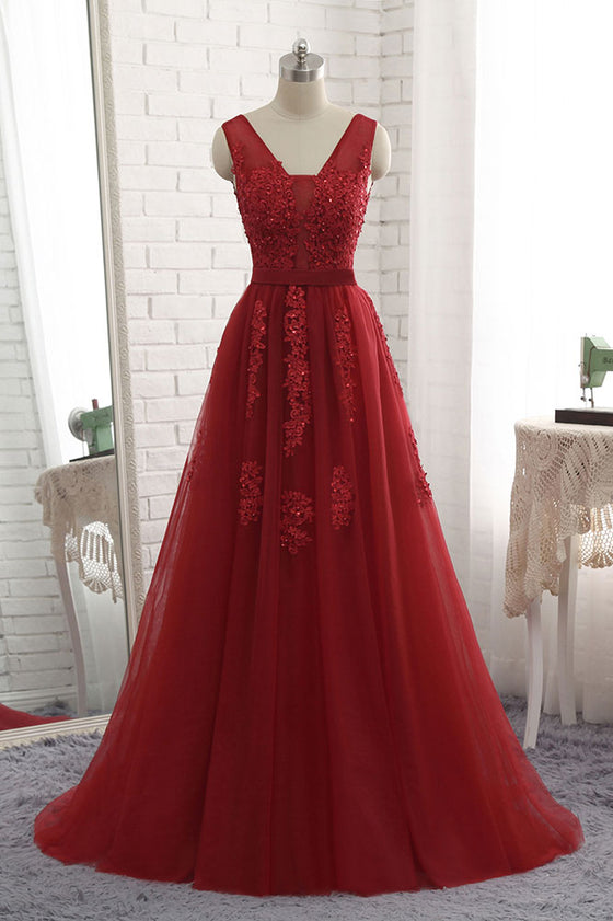 Burgundy v neck tulle lace applique long prom dress, burgundy bridesmaid dress
