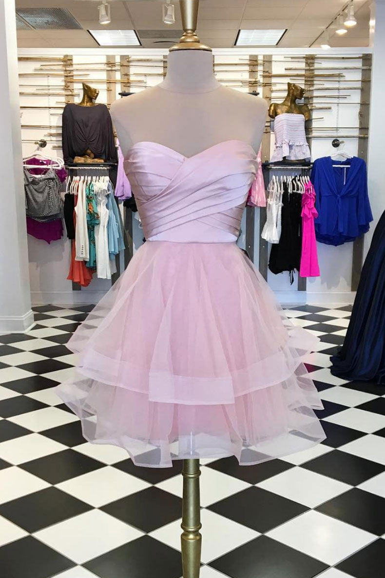 Pink cute tulle short prom dress, pink homecoming dress