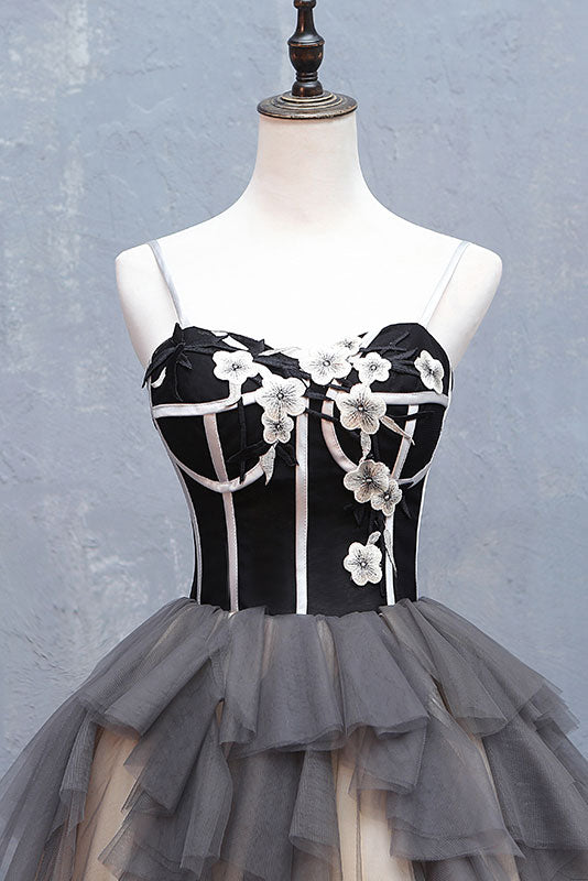 Cute sweetheart neck tulle short prom dress, black homecoming dress