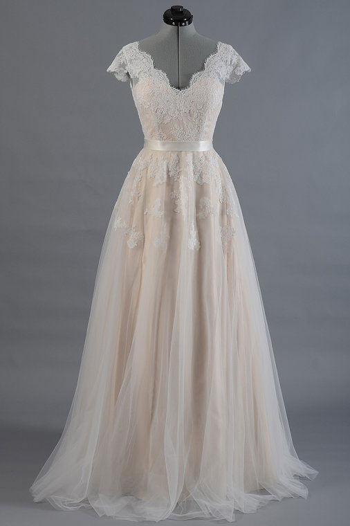 A-line champagne tulle lace long prom dress, lace wedding dress