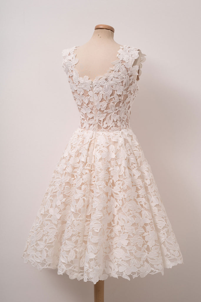 Ivory white lace short prom dress, cute lace homecoming dress
