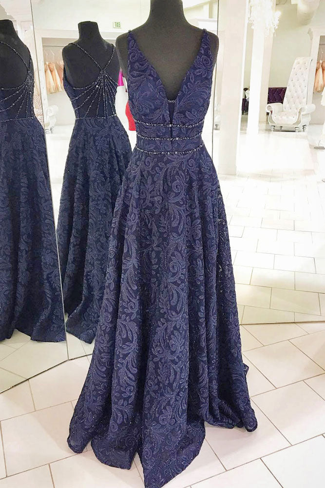 Dark blue v neck lace long prom dress, lace evening dress