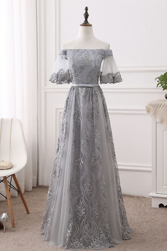 Gray tulle lace long prom dress, gray bridesmaid dress