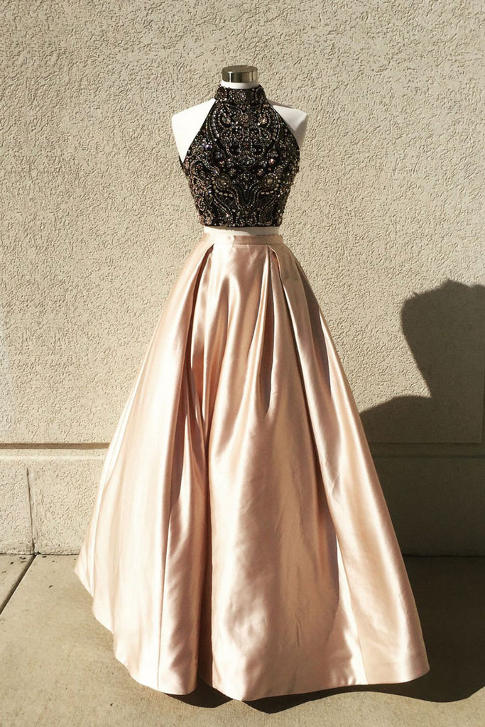 Champagne two pieces beads long prom dress, champagne evening dress