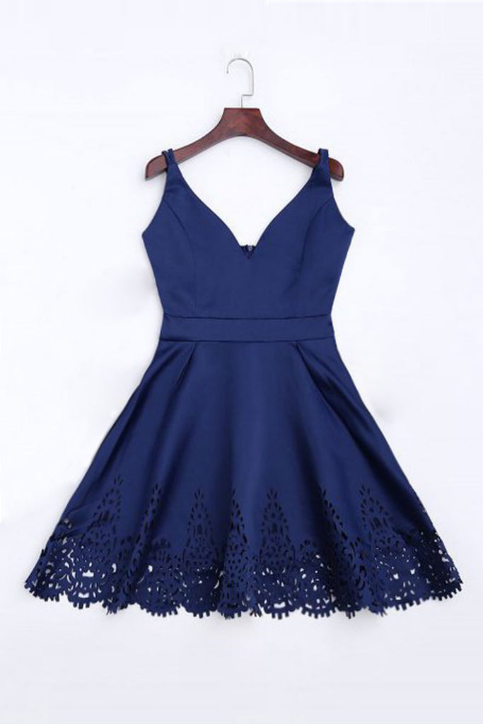 Simple dark blue short prom dress, cute homecoming dress