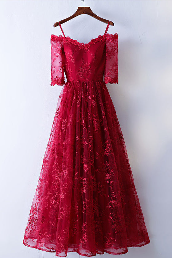 Pretty burgundy lace long prom dress, burgundy lace evening dress