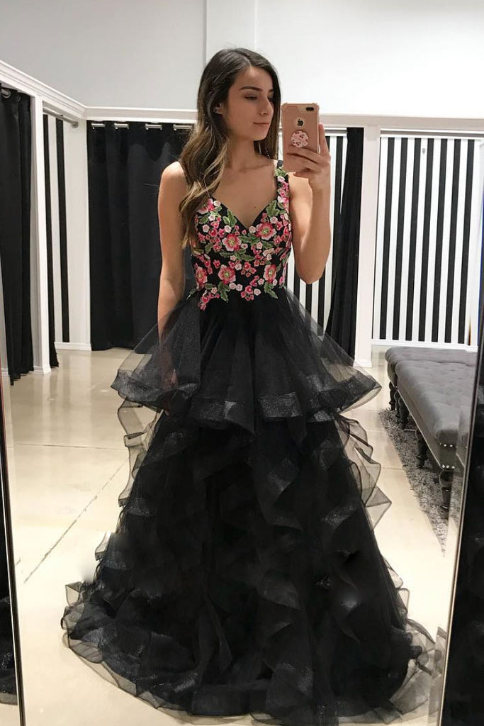 Black tulle lace applique long prom dress, black tulle evening dress