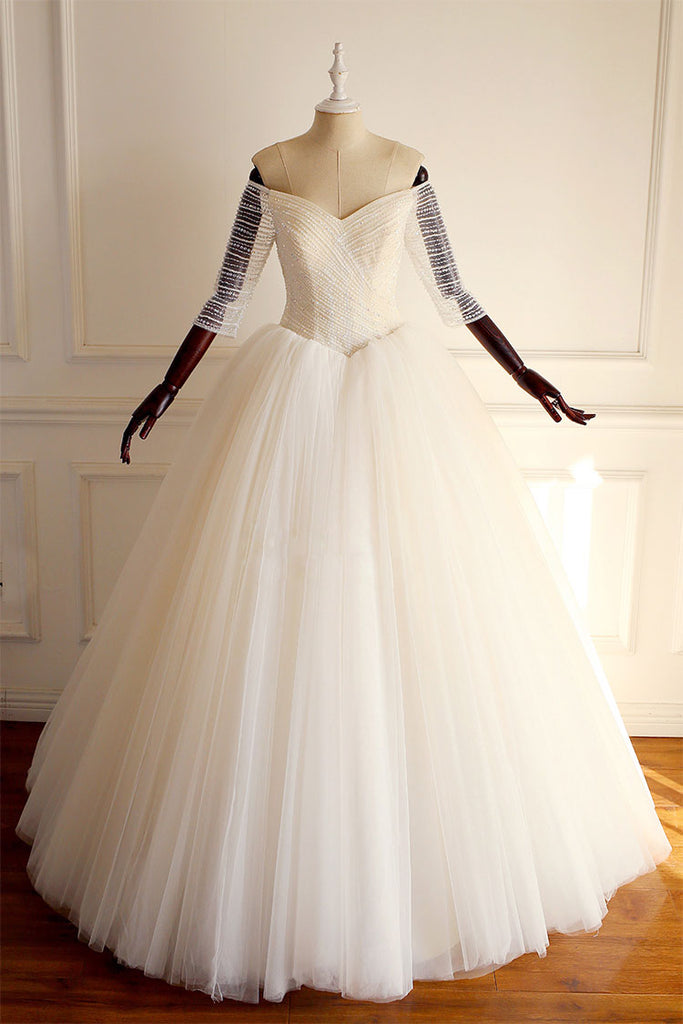 Light champagne off shoulder tulle beads long prom dress, wedding dress