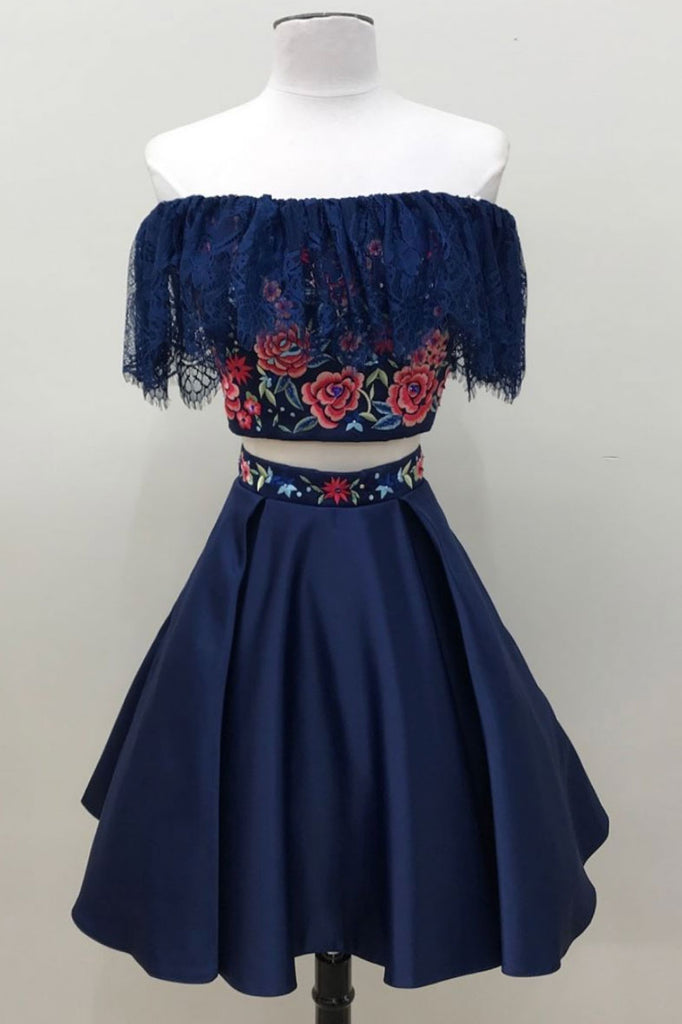 Dark blue lace short prom dress, dark blue homecoming dress