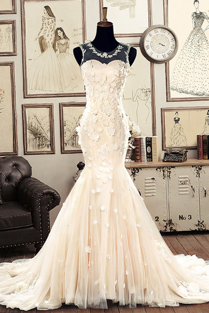 White round neck tulle mermaid long wedding dress, bridal gown