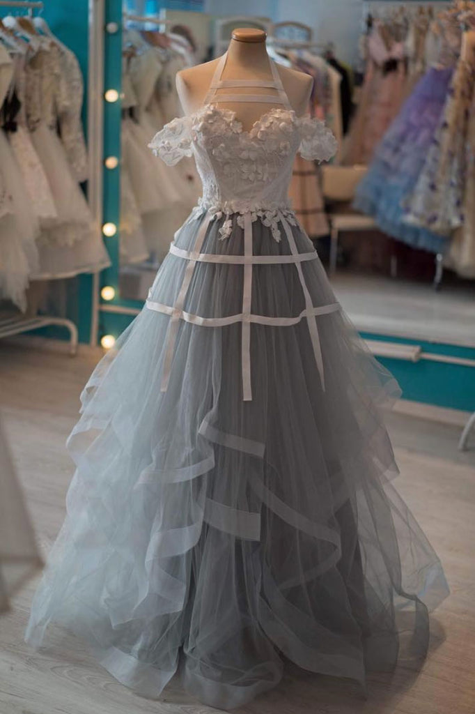 Unique gray tulle lace applique long prom dress, gray tulle evening dress