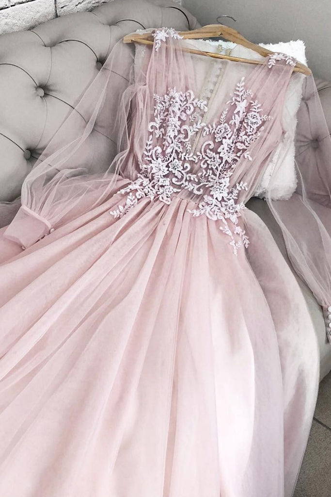 Pink v neck tulle long prom dress, pink tulle evening dress