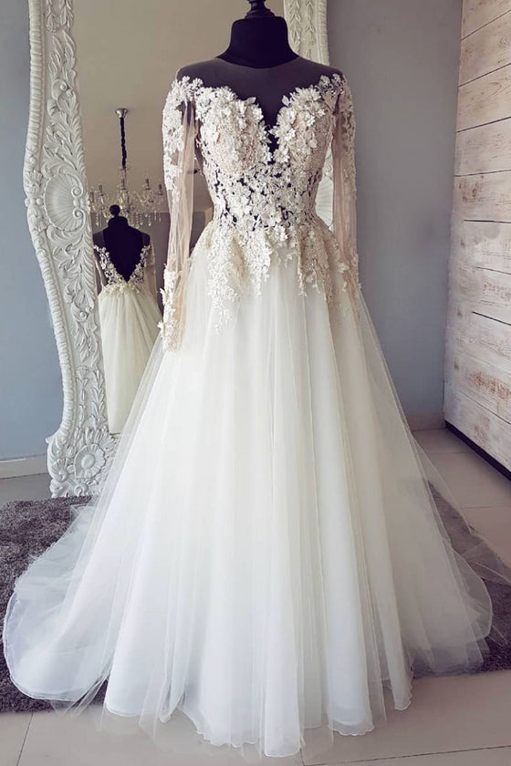 White round neck lace applique long prom dress, white wedding dress