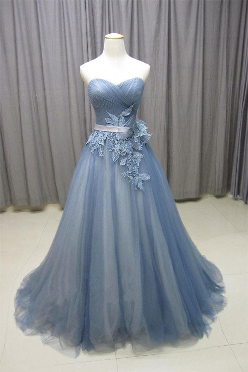 Gray blue sweetheart neck tulle long prom dress, gray evening dress