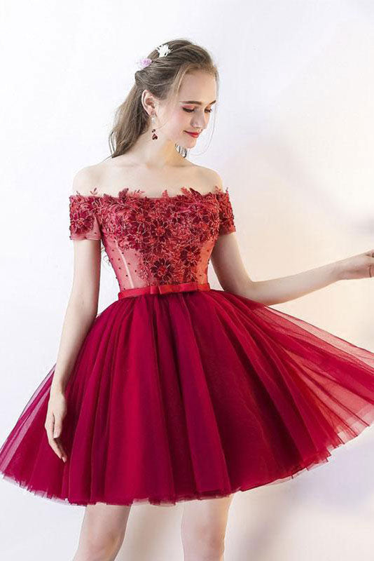 pretty and colorful 2019 original 2019 discount sale Cute burgundy tulle lace applique short prom dress, burgundy homecoming