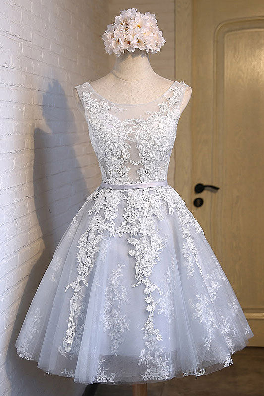 Gray round neck tulle lace applique short prom dress