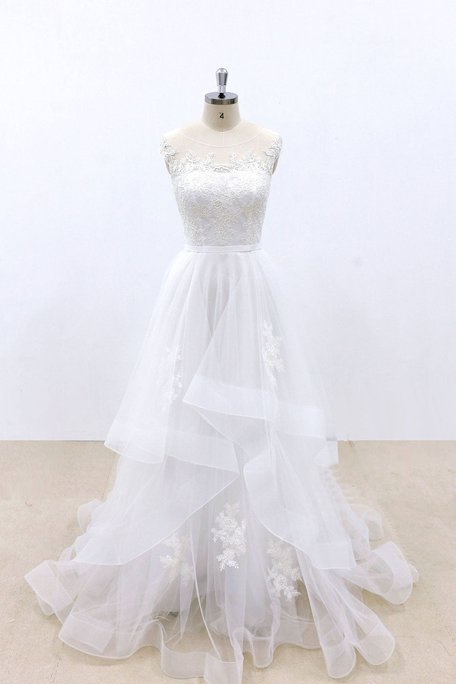 White round neck tulle lace long prom dress, white lace wedding dress