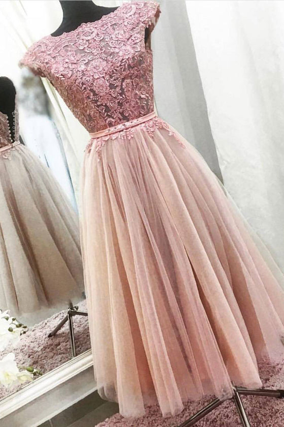 Pink lace tulle tea length pink prom dress, lace pink evening dress