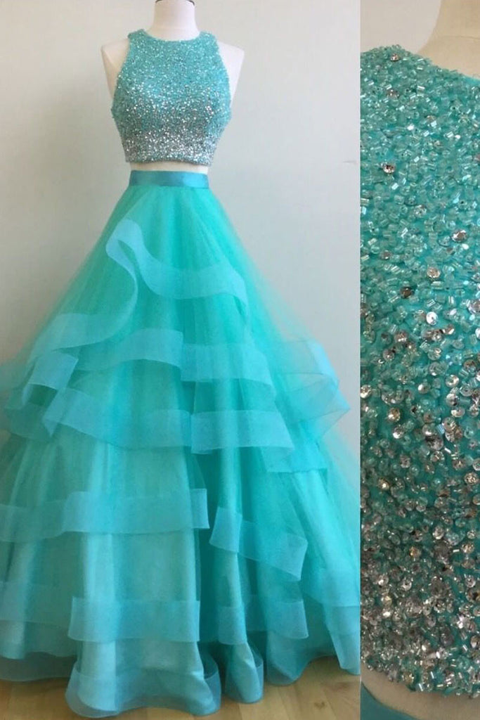 Green two pieces sequin tulle long prom dress, green evening dress