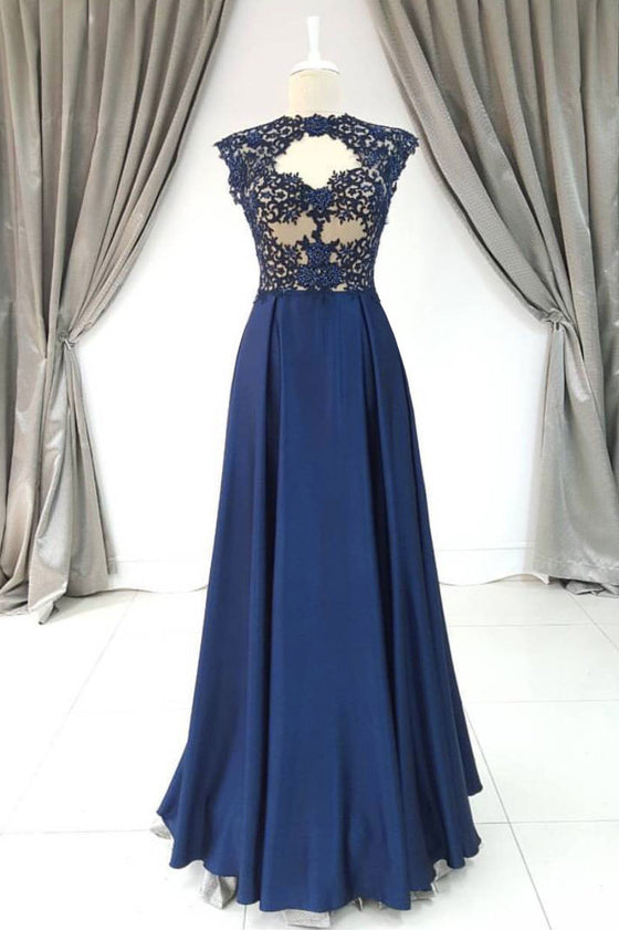 Elegant A-line lace satin blue long prom dress, blue lace evening dress