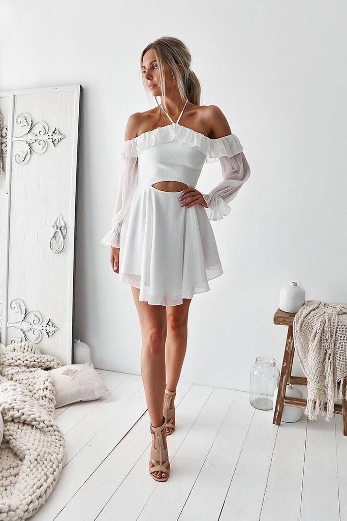 Simple white chiffon short prom dress white cute summer dress
