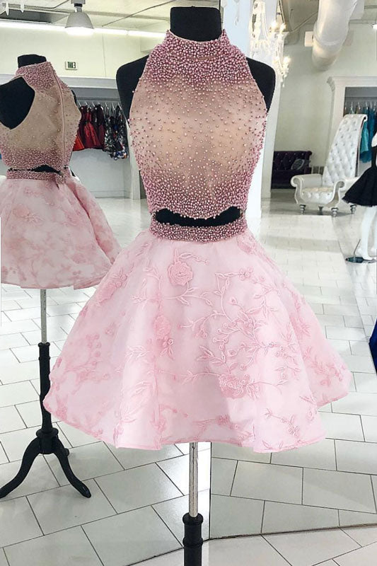 Pink two pieces beads lace short prom dress. pink homecoming dress