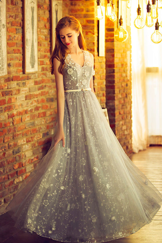 Gray v neck lace tulle long prom dress, gray bridesmaid dress