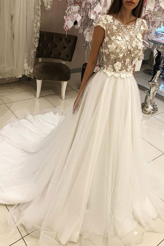 White round neck tulle lace long prom dress white wedding dress