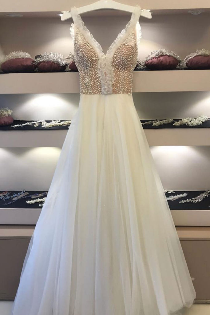 White v neck beads tulle long prom dress, white evening dress
