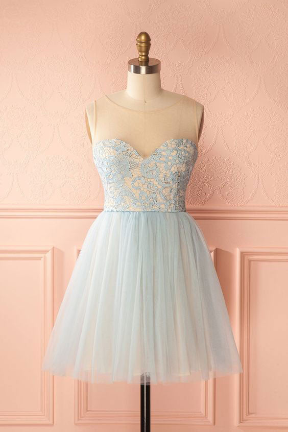 Cute tulle light blue short prom dress, homecoming dress