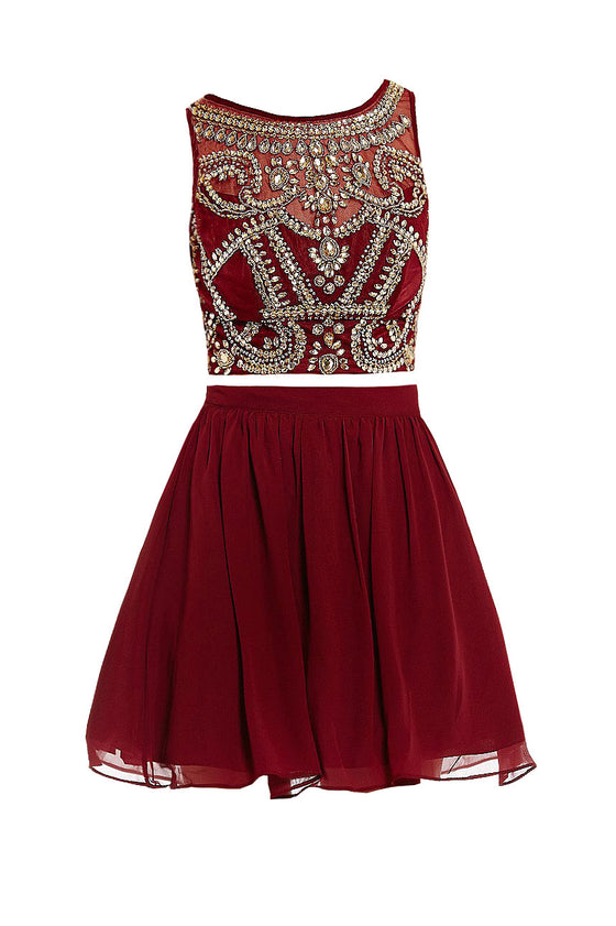 Cute burgundy two pieces beads short prom dress, burgundy homecoming dress