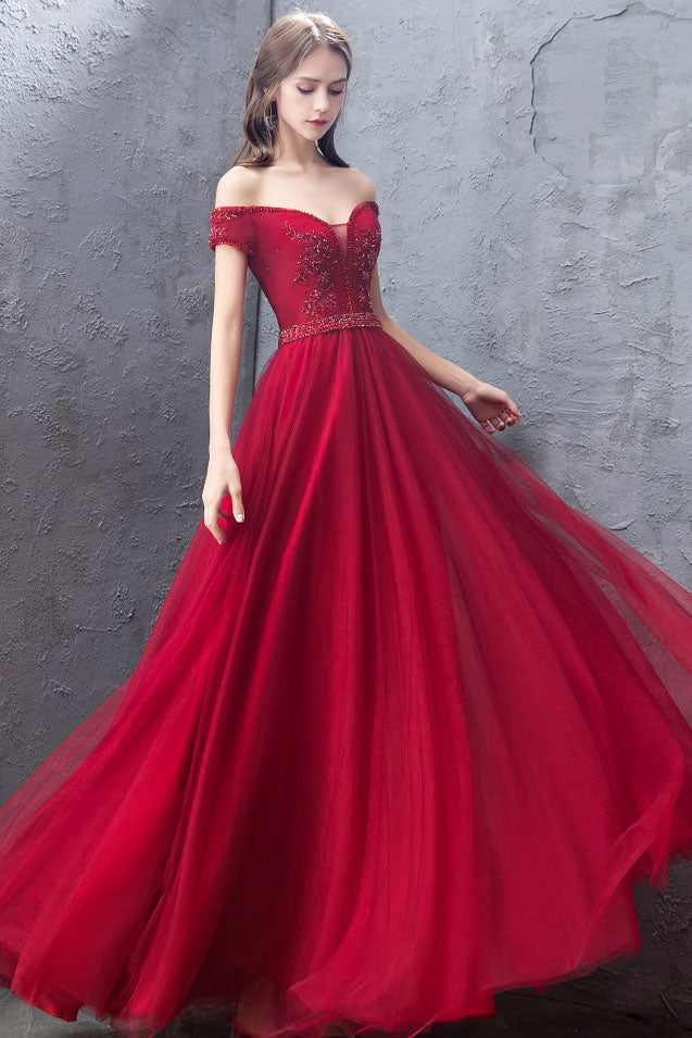 Burgundy tulle off shoulder long prom dress, burgundy evening dress