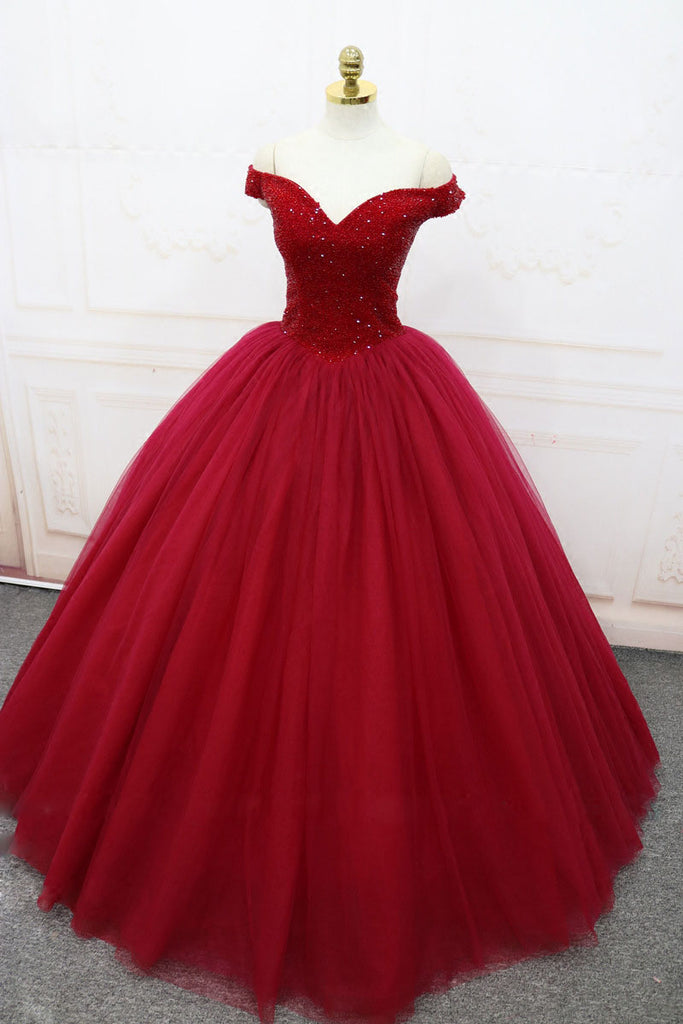 burgundy off shoulder tulle long prom dress, tulle evening dress