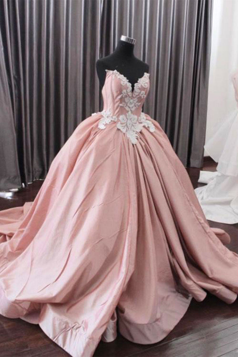 Unique pink lace long prom gown, pink evening dress - dresstby
