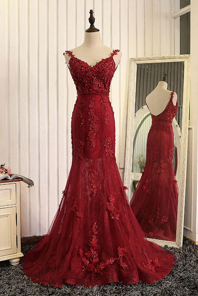 Red mermaid lace long prom dress, lace mermaid evening dress