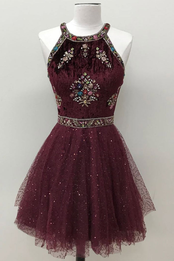 Unique round neck tulle beads short prom dress, burgundy homecoming dress