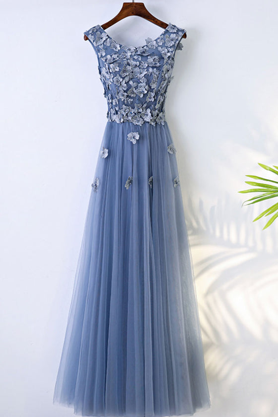 Blue round neck tulle lace applique long prom dress, evening dress