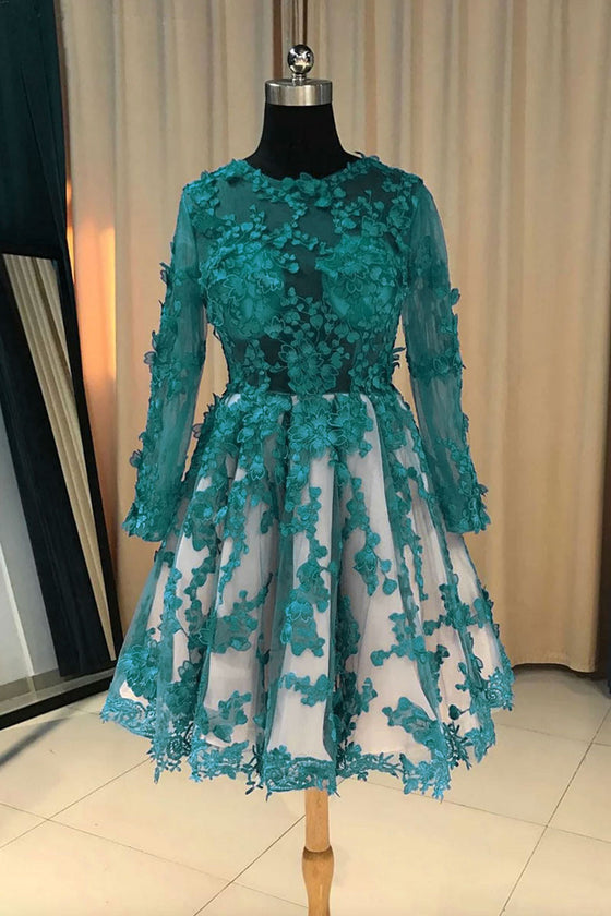 Green round neck lace tulle short prom dress, green lace bridesmaid dress