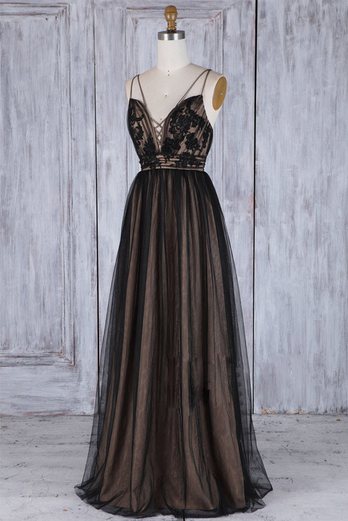 Black v neck lace tulle long prom dress, black bridesmaid dress