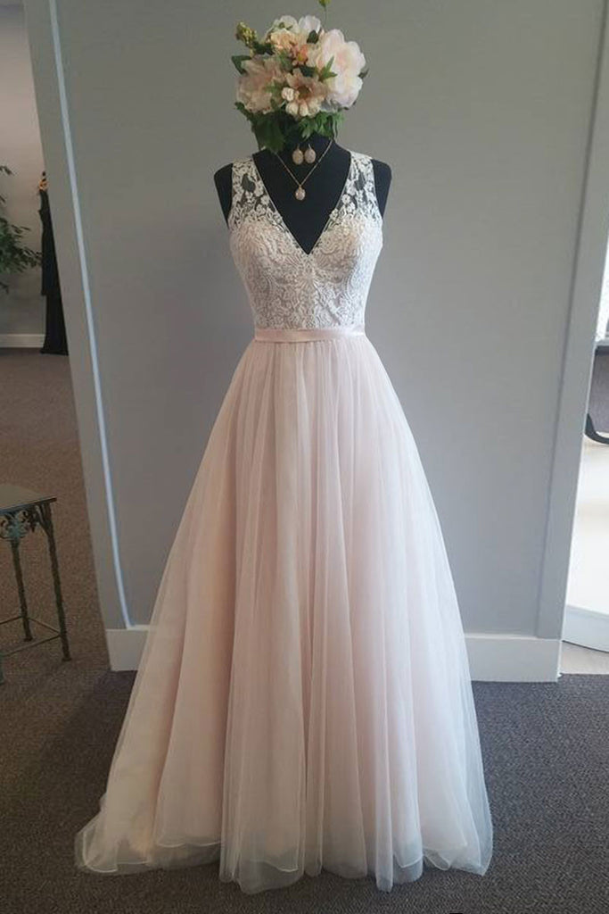 Pretty v neck lace tulle long wedding dress, tulle bridal dress