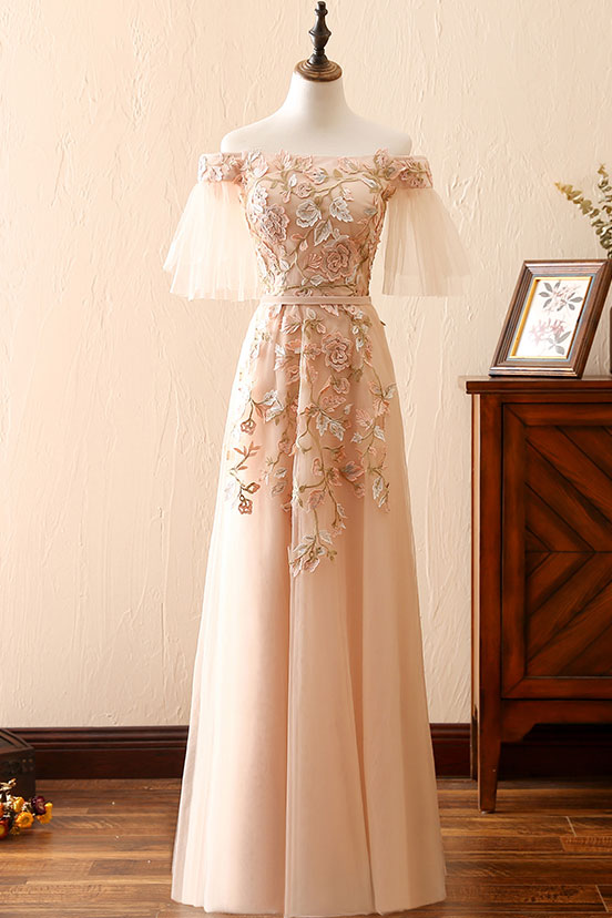 Champagne tulle long prom dress, champagne tulle lace applique evening dress
