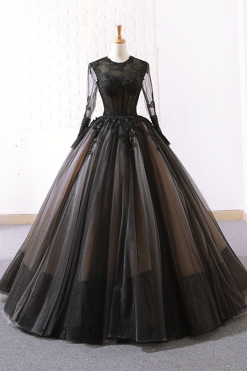 Black tulle lace long prom dress, tulle lace evening dress