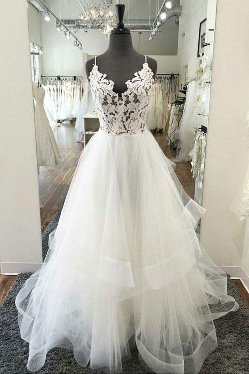 White v neck lace tulle long prom dress, white tulle evening dress