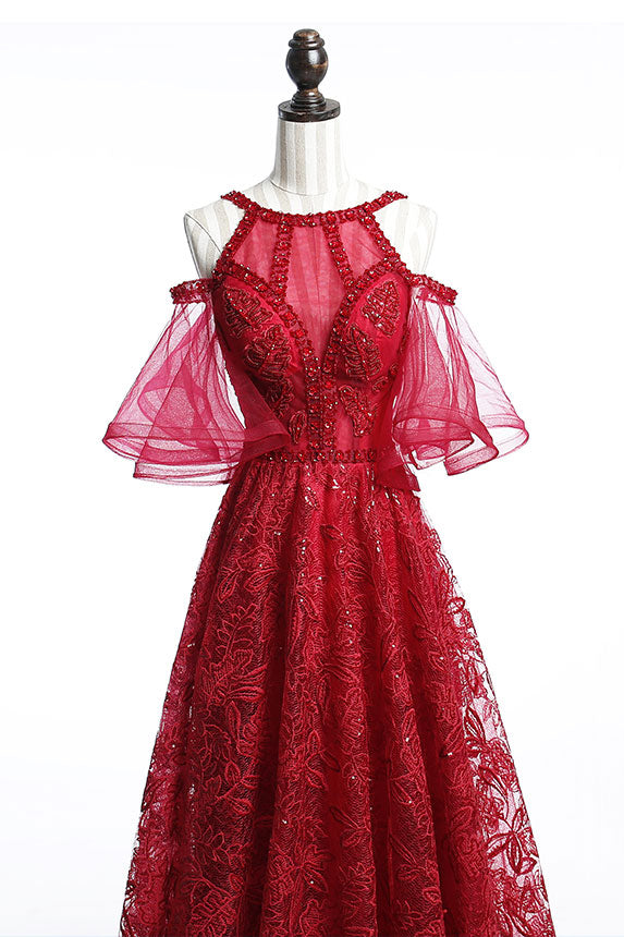 Burgundy tulle lace beads long prom dress, burgundy evening dress
