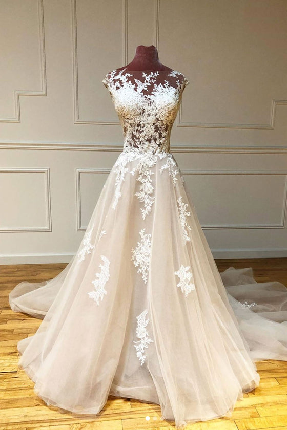 Champagne tulle lace long prom dress tulle lace evening dress