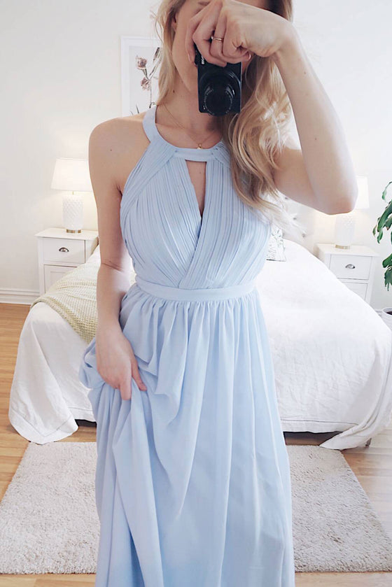 Simple round neck chiffon blue long prom dress, blue evening dress