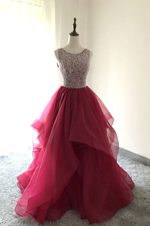 Burgundy round neck tulle beads long prom dress, burgundy evening dress