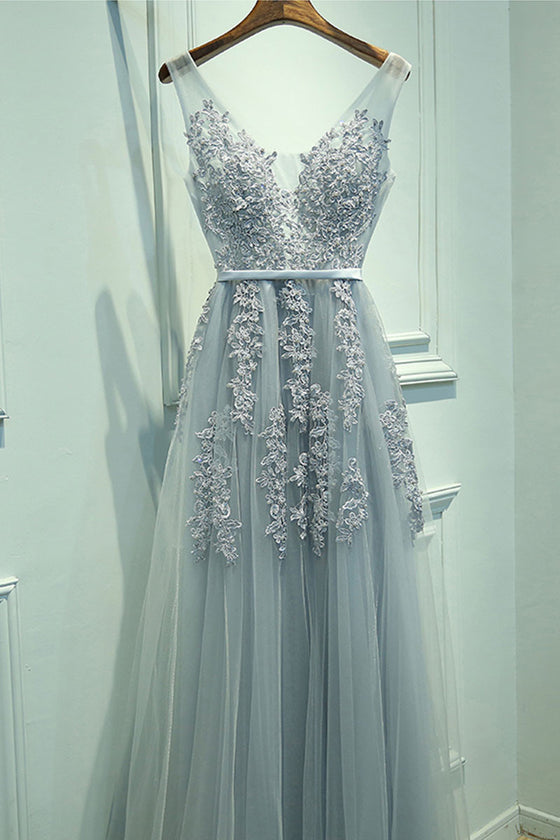 Gray lace tulle long prom dress, gray bridesmaid dress