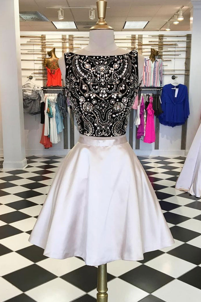 Cute two pieces beads short prom dress, champagne homecoming dress